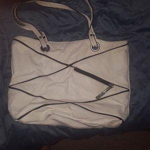 Marc Ecko white leather purse diagonal zipper